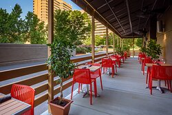 Overlook downtown views and enjoy dinner on our outdoor patio