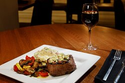 Relax with dinner and a glass of wine after a day of travel