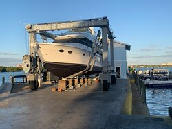 60' Galeon - another beautiful yacht having her bottom painted at Bayfront Yacht Works & Marina.