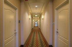 Hallway of our hotel by Reach 11 Sports Complex