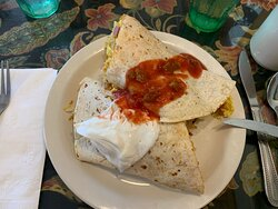 Breakfast burrito is enough to share for two.