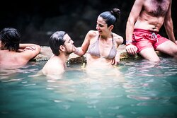 Volcanic Hot Springs with mineral thermal water. The temperature is warm, adequate to relax.