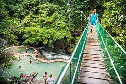 The hanging bridges at Rio Negro are strategically located. The best panoramic picture of the area is from the bridges