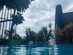 View from the pool after heavy rain.