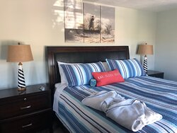Enjoy a comfortable night in the dual control King Sleep Number bed, in the Lighthouse Suite