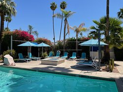 Pool, lounge area, fire pit