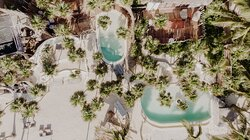 Beach club and restaurant are with some rooms next to the beach club and music journeys