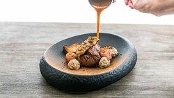 """Karjamõisa"" farm beef tenderloin, fried foie gras,  royal jelly and black truffle sauce"
