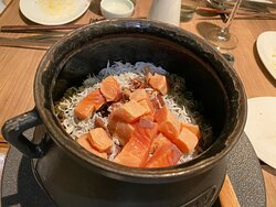 Japanese steamed rice with seafood