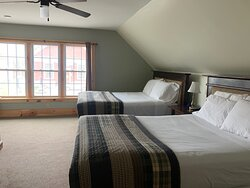 Room #3: A spacious room with 2 queen beds overlooking East Burke Main Street and Cafe Lotti!