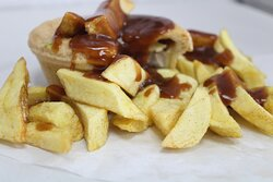 Pukka Pies chips with sauce