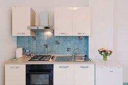 zona giorno - cucina - bilocale con vista Costa D'Amalfi