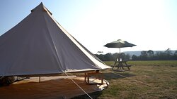 One of our 5m Bell Tents, showing off the 360-degree feature for when the weather gets a little too hot!