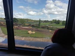 View out of window (Elephant is in lower paddock behind the bars)