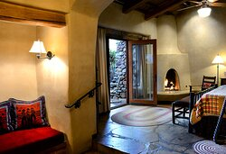 The Flat Rock Hickory Suite #5 Pet friendly with a fireplace, double sinks, and a fenced patio.