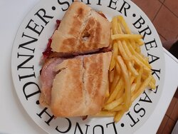 We do fresh sarnies and paninis with a choice of fries