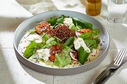 Big green salad with quinoa, stracciatella and lemon cream  Большой зеленый салат с киноа, страчателлой и лимонным кремом