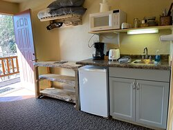 Kitchenette in our Family Suite.   Outside Deck Access with mountain views