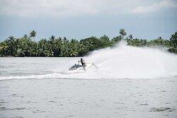 Jet skiing on the lagoon