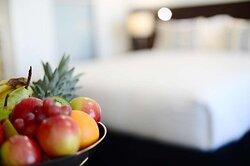 Detail of fruit bowl in bedroom of One Bedroom Suite