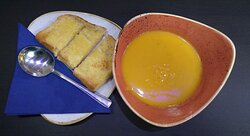 Homemade soup and garlic bread made in our kitchen