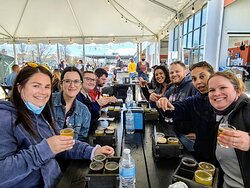 """On the """"tar patio"""" at Rising Tide Brewing Company in Portland."""