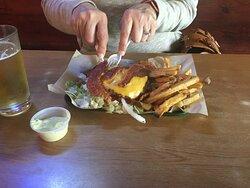 jumbo burger -No bun and Fries