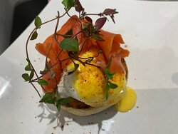 Eggs Royal   Bringing in wild Salmon, Chefs homemade hollandaise sauce , smoked paprika,garden thyme.