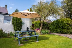 Post Office House garden and picnic table
