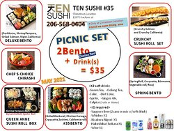 Two Bento and Two Drinks $35 All Day Everyday
