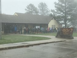 Line for cave tour tickets.