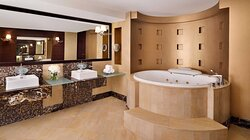 A luxury bathroom experience with well cleaned amenities