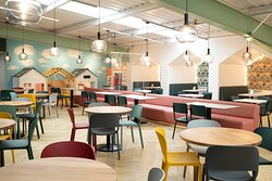 Come and experience the new Sky Terrace Cafe Bar at Head Over Heels Chorlton. Offering 2000 sq. ft. of comfortable adult seating, beautifully decorated booths with mini role play village and direct access to the play frame.