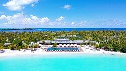 Aerial of Portico, Veli Bar pool - Patina Maldives