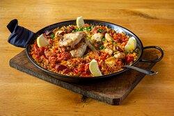 Chicken and Chorizo paella at Ambiente tapas restaurant Fossgate