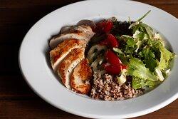 Quiona salad rosemary chicken breast and fresh garden vegetables