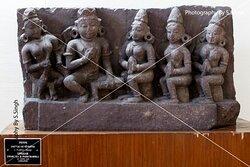 Upasak & Paricharika ,  ruined Fine carved artefact's /sculpture 10th Century. Rani Durgawati Museum , Jabalpur, M.P. India