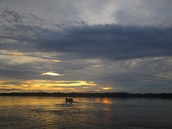 Sunset in the Amazon river