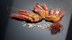 Gamberi rossi gratinati in foglia di limone di Sorrento