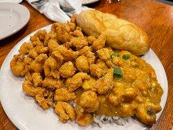 Etoufee with fried crawfish tails