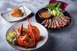 Surf & Turf, Singapore Chilli Lobster, Thai Style Rib Eye
