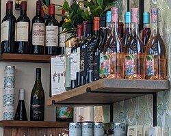 Wine shelf in the Ubuntu Café.