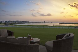 Amazing view of the sunset at Hickory's Restaurant, Yas Links Abu Dhabi