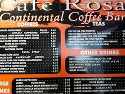 Cafe Rosa  drinks menu