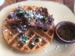Chicken and Waffles the bacon syrup was so good