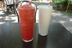 Our lunch was complimented with a vanilla milkshake (right) for my wife and a delicious Queensland Strawberry Smoothie for me.