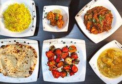 Chicken Tikka, Jalfrezi, Pilau Rice, Naan Bread, Chicken Korma