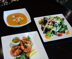 Lobster Bisque, Mr. D's Salad, Pancetta Wrapped Shrimp