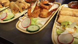 King prawn tempura and spring roll