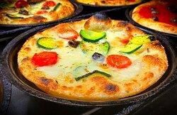 Vegetariana:  zucchini, fresh tomatoes, taggiasca olives, scamorza cheese